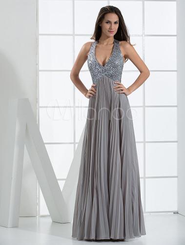 Silver a line halter floor length chiffon satin evening for Silver satin wedding dress