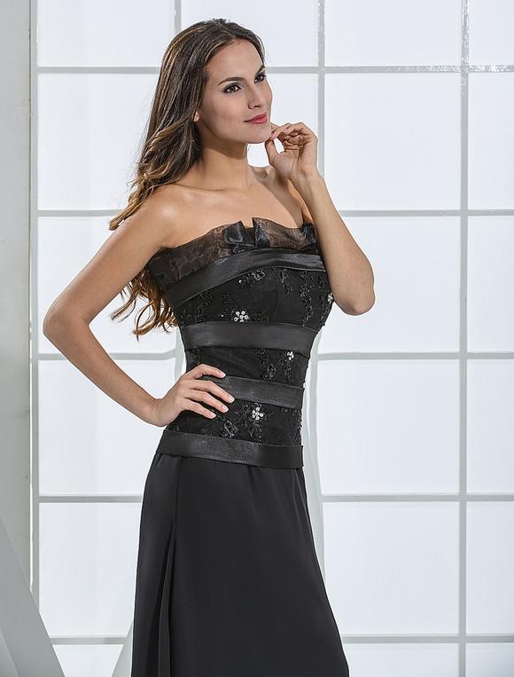 Black floor length chiffon a-line satin evening dress