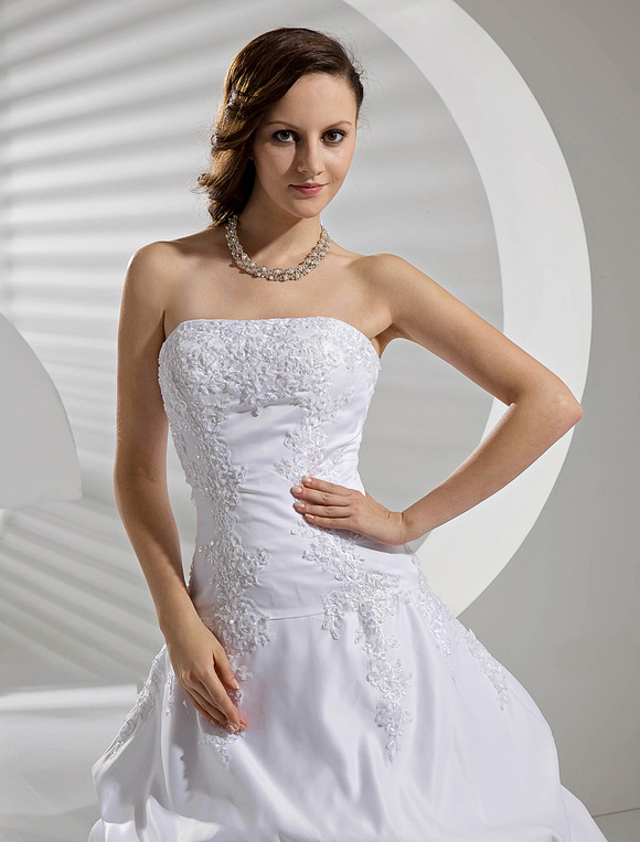 Weiße Brautkleider Taft Dropped Taille geraffte Brautkleid Liebsten ...