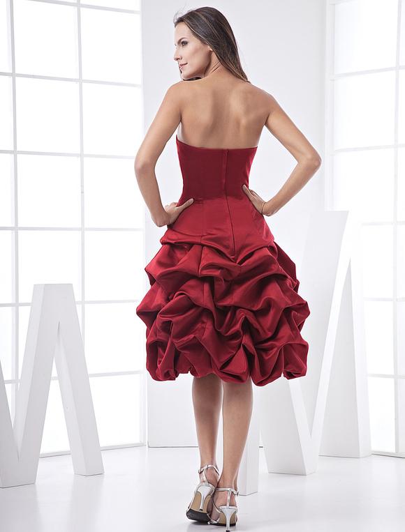Trägerloses Prom-Kleid in Burgunderrot - Milanoo.com