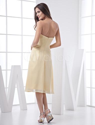020373bb87 A-line Tea-Length Bridesmaid Dress With Drape Front - Milanoo.com