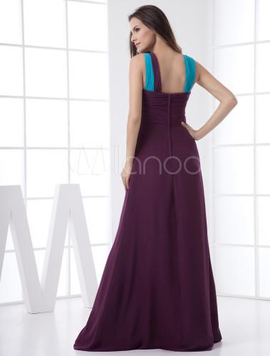 ae197e54e ... Vestido de noche de color morado de gasa con hombro caído de línea A  hasta el ...