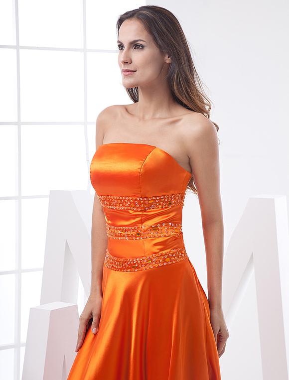 Long Prom Dresses Orange Red Strapless Formal Evening
