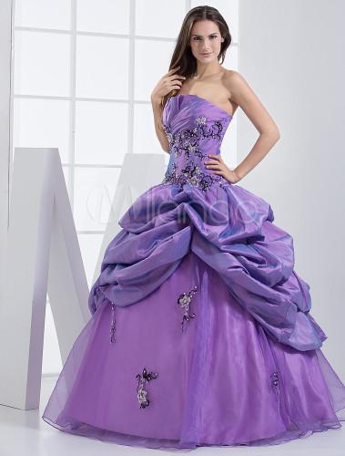 Ball Gown Lilac Taffeta Scalloped Edge Neck Quinceanera