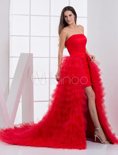 Grace Red Strapless Sleeveless Ruffles Sheath Tulle Prom