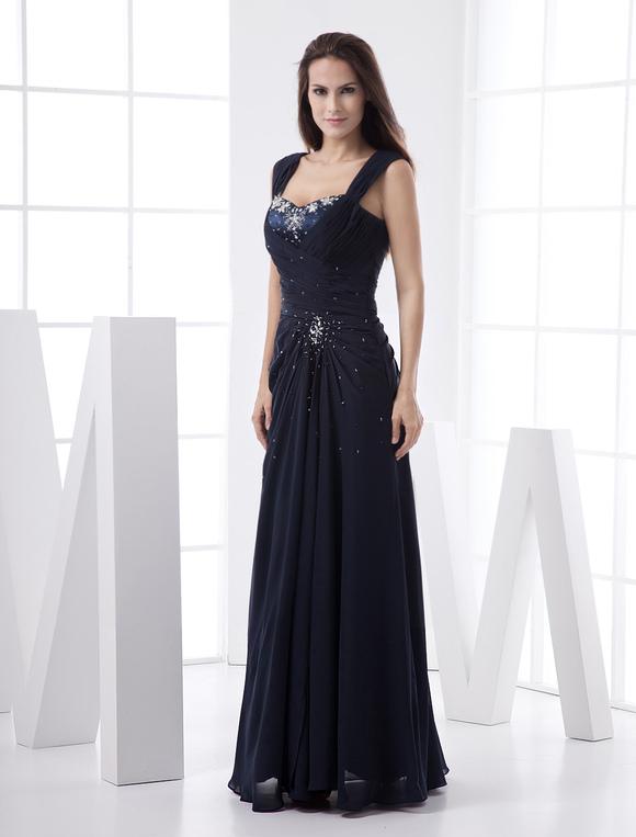 Prom-Kleid aus Chiffon in Dunkelblau - Milanoo.com