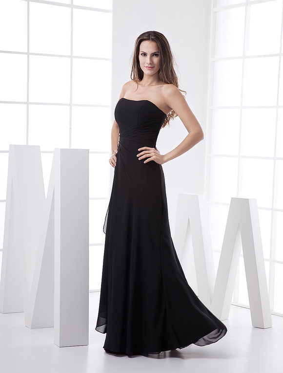 Schwarz Bridesmaid Kleid trägerlos rückenfreie Spitze Chiffon Kleid ...