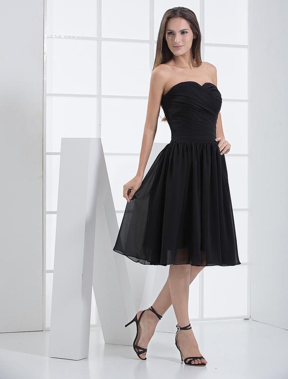 Sweet Black Chiffon Sweetheart Knee Length Cocktail Dress