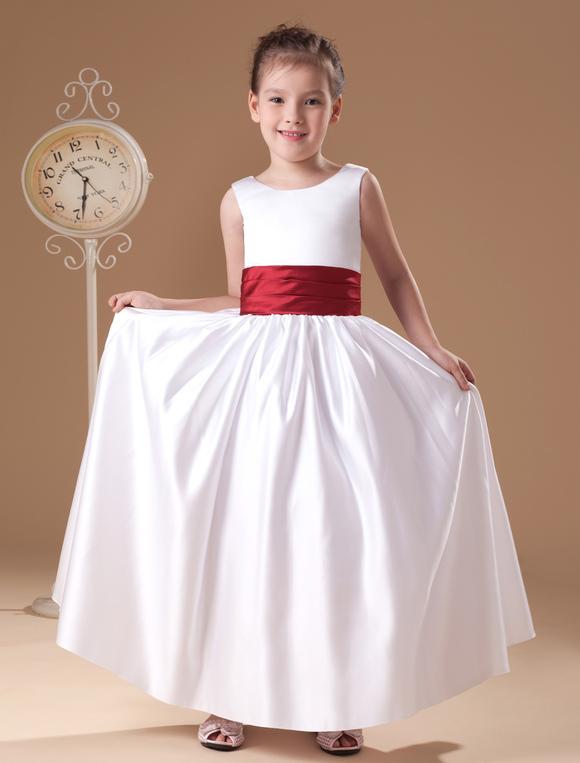 e244a75f810 ... Beauteous White Sleeveless Sash Bow Satin Flower Girl Dress-No.2 ...