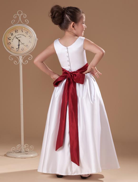 5cc1289f8af ... Beauteous White Sleeveless Sash Bow Satin Flower Girl Dress-No.4 ...