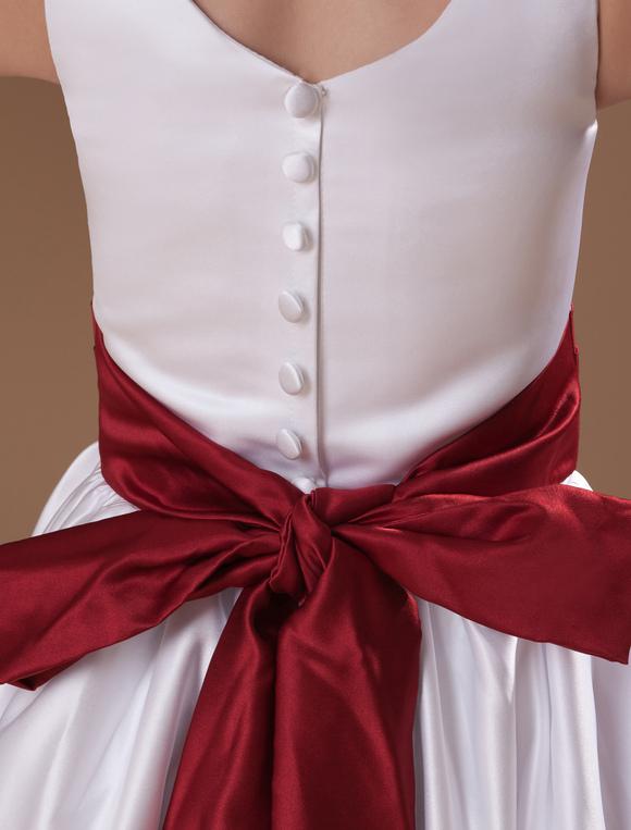 6151159cece ... Beauteous White Sleeveless Sash Bow Satin Flower Girl Dress-No.7. 12