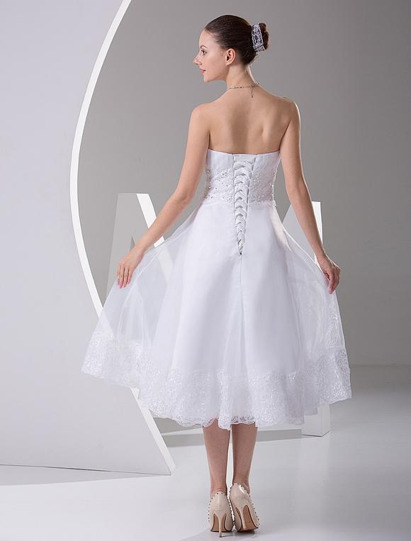 Simple Wedding Dresses White Strapless A Line Satin Short Wedding Reception Dress Milanoo Com,Flower Girl Dresses For Winter Wedding