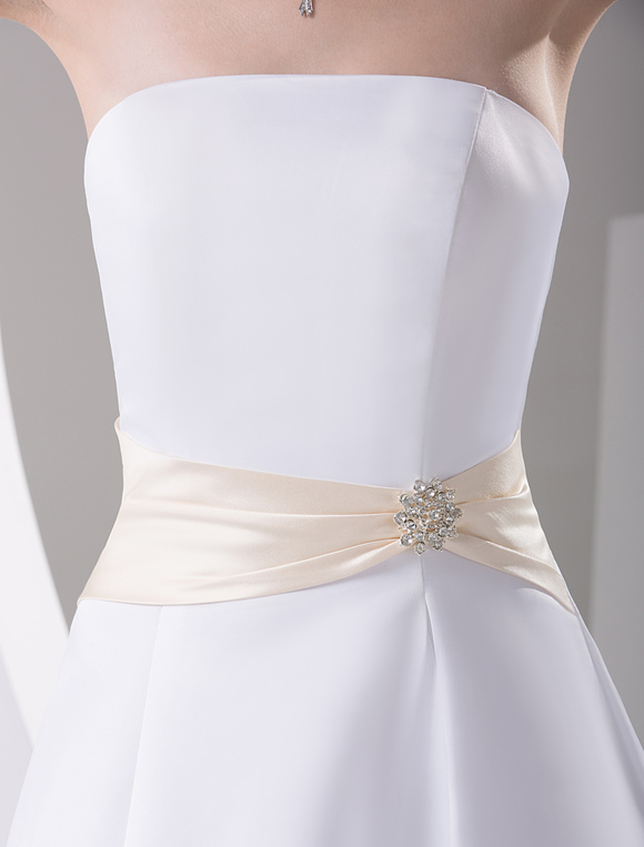 Ivory strapless satin sash wedding dress for Ivory wedding dress sash