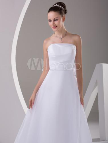Slim a line white satin sweep strapless wedding dress for Slim white wedding dresses