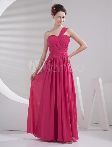 d6d18b08d1d ... Hot Pink Bridesmaid Dress One Shoulder Chiffon Maxi Prom Dress-No.5 ...