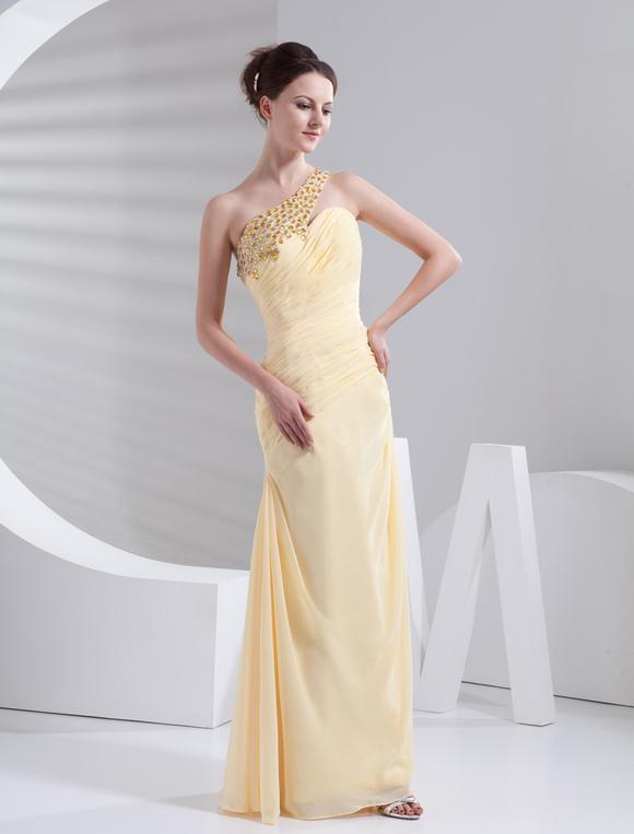 Prom-Kleid aus Chiffon in Gelb - Milanoo.com