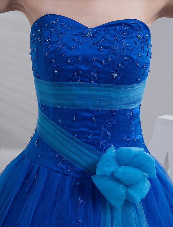 Vestidos de 15 azul francia cortos