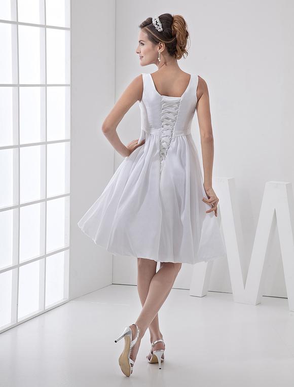 Knee Length White Bridal Wedding Dress With Jewel Neck A