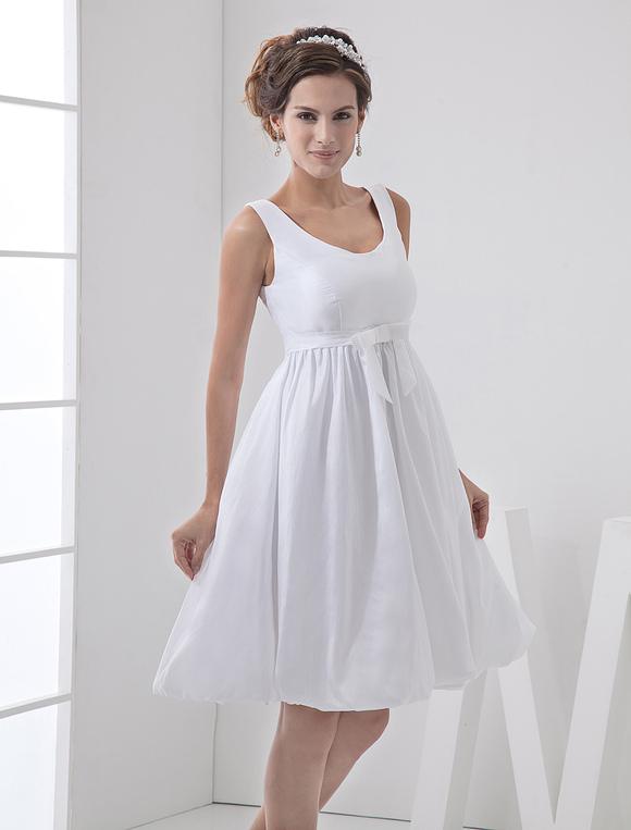 Vestidos Blancos De Novia Sencillos Vestido Corto De Novia Con Cuello De Joya Linea A Con Faja
