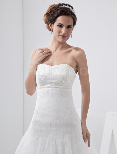 Ivory tulle strapless empire waist wedding dress for Ivory empire waist wedding dress