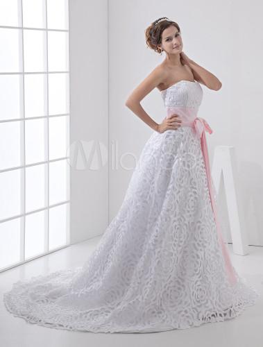 A-Linie-Hochzeitskleid aus Satin und Spitze mit rosa Gürtel und ...