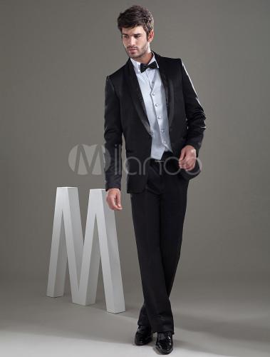 d45fd7fdeebf1 ... 新郎スーツ メンズフォーマル ウェディング サテンファブリック ブラック 婚約日 男性用 チョッキ&パンツ& ...