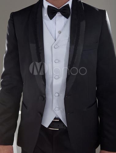 b6527f351c8bf ... 新郎スーツ メンズフォーマル ウェディング サテンファブリック ブラック 婚約日 男性用 チョッキ&パンツ&