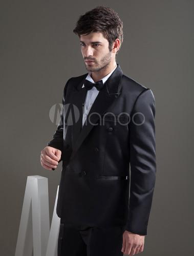 30b4c98f37091 ... 新郎スーツ,タキシード オーダーメイド可能 ブラック 結婚式スーツ パーティー ゥェディング セット- ...