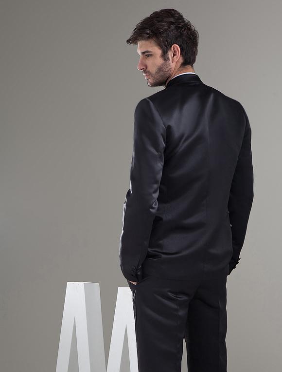 4c8f6f400ba2e ... 新郎スーツ メンズフォーマル ブラック サテンファブリック 婚約日 男性用 チョッキ&パンツ&ジャケット ...