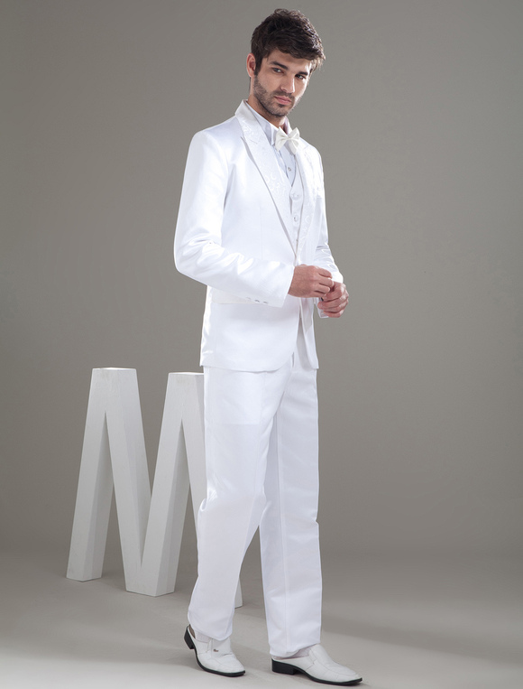 White Por Worsted Bow Groom Wedding Suit No 3
