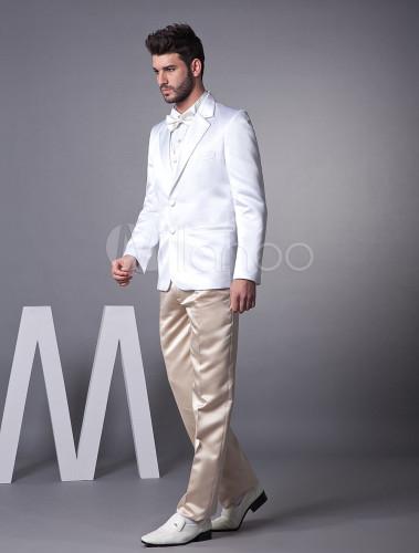 b9f66e2c77654 ... 新郎スーツ,タキシード ホワイト オーダーメイド可能 セット 結婚式スーツ ゥェディング パーティー - ...