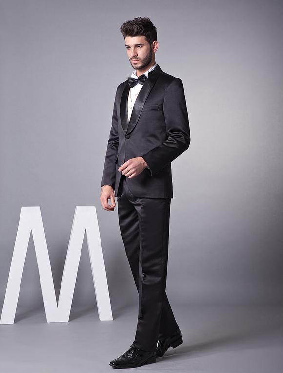 f7e80eecd4add ... 新郎スーツ メンズフォーマル ブラック ウェディング サテンファブリック 婚約日 男性用 チョッキ&パンツ& ...