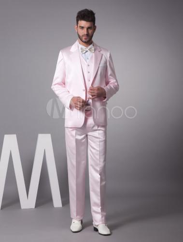 traje de novio de satén de color rosa de largo medio - milanoo
