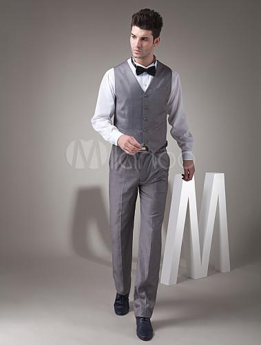 d61f38cc5 ... Modernos trajes de novios de poliéster y de lana de color gris para de  estilo de ...