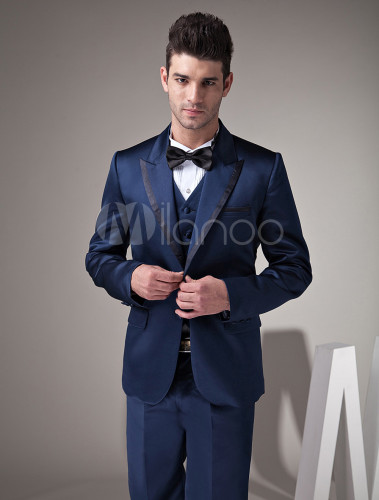 Fantastic Dark Blue Satin Groom Wedding Tuxedo No 4