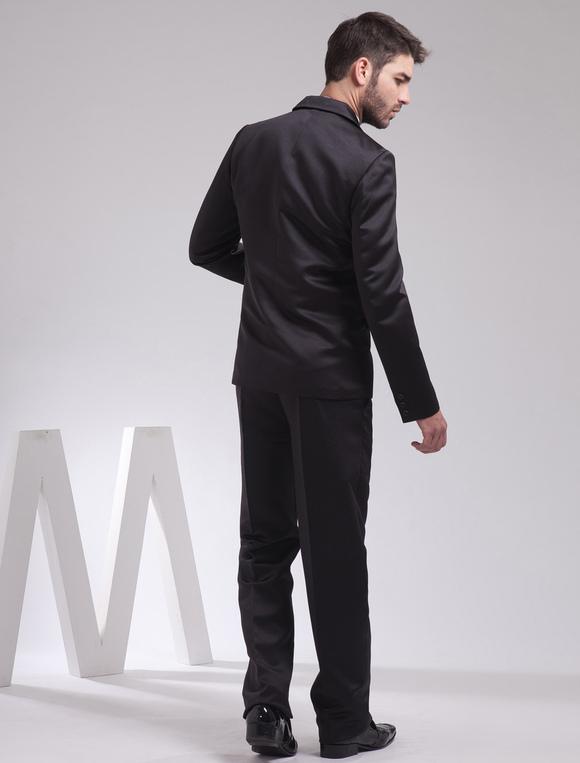 8244e2786f06a ... 新郎スーツ メンズフォーマル サテンファブリック ブラック ウェディング 婚約日 男性用 チョッキ&パンツ& ...
