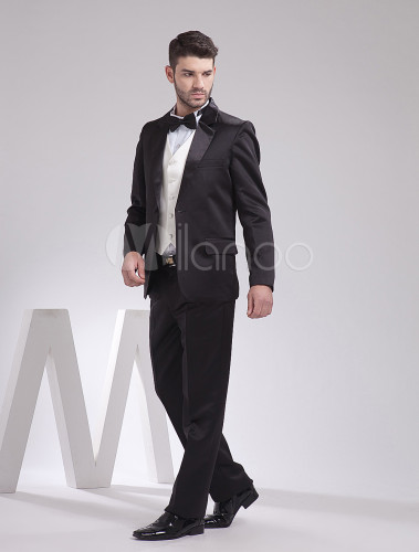 4d07d91f2e67f ... 新郎スーツ メンズフォーマル サテンファブリック ブラック 婚約日 ウェディング 男性用 チョッキ&パンツ& ...