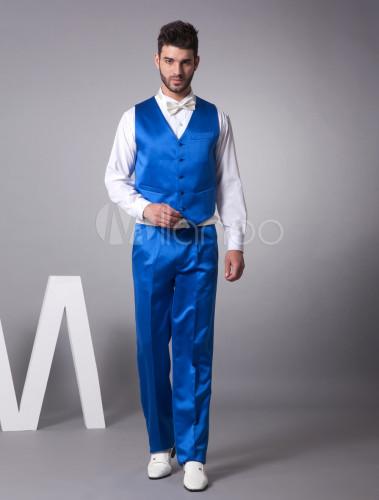 0c542258d1b59 Modernos trajes de novios de satén azul de largo medio de solo botón ...