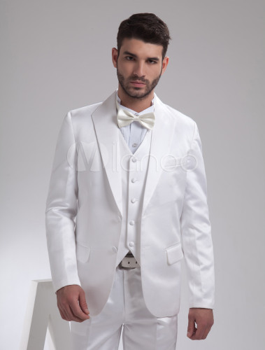 Trajes de novios de satén de color blanco de solo botón de largo medio -  Milanoo.com ad434c65828