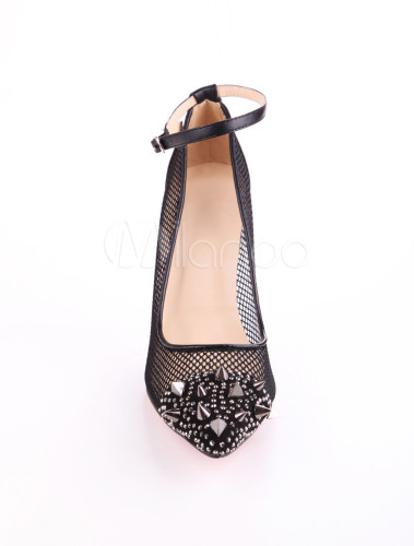 Cool Black PU Pointed Toe Mesh Spikes Women's High Heels - Milanoo.com