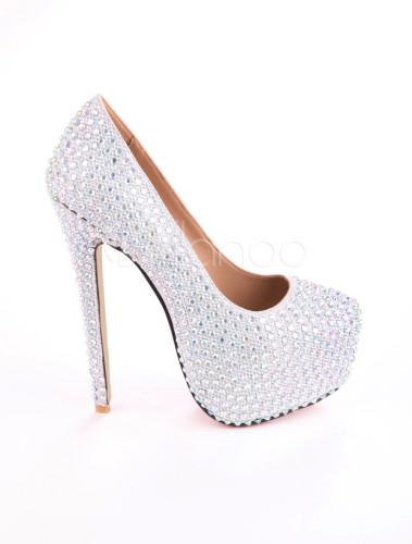 white spike heel glitter rhinestone cloth platform pumps for women. Black Bedroom Furniture Sets. Home Design Ideas