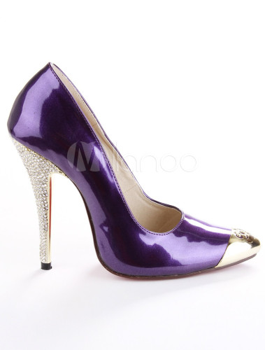 Purple Patent Leather Rhinestone Sexy High Heels For Women