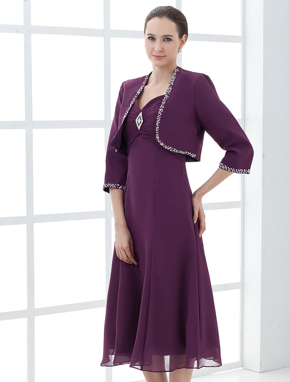 Vestido para madre de novia con chaleco - Milanoo.com