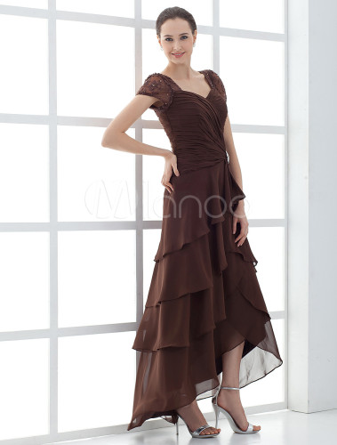 High Low Mother Of The Bride Dress With Short Sleeve
