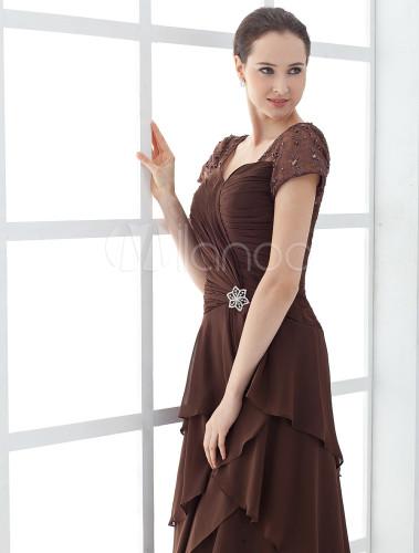 699346465f65 ... Abbigliamento per la madre della sposa cioccolato in satin multistrato  asimmetrico Abiti per Ospiti di Matrimonio ...