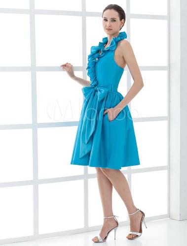 4ad9a2f2f ... Vestido para la madre de la novia de tafetán azul de línea A con faja de  ...
