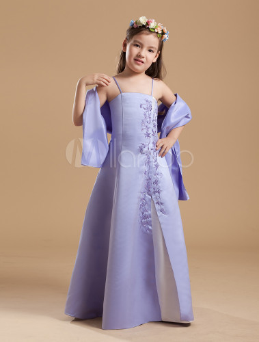 Flower Girl Dress A Line Violet Satin Applique Spaghetti