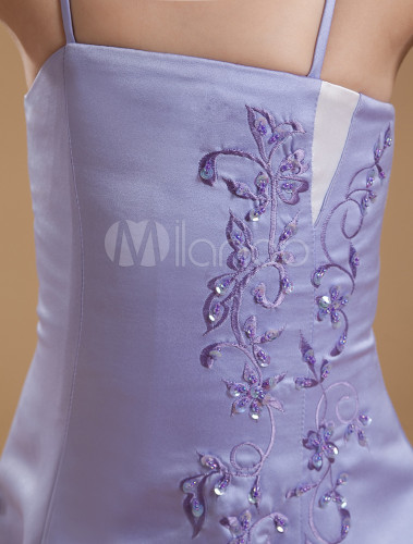 Amethyst satin spaghetti straps dress