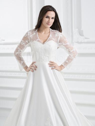 Princess kate 2m sweep ivory satin lace v neck wedding dress princess kate 2m sweep ivory satin lace v neck wedding dress no5 junglespirit Images