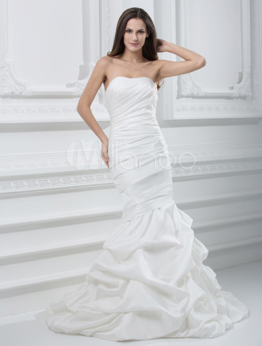 Style strapless mermaid trumpet taffeta wedding dress for Taffeta mermaid wedding dress
